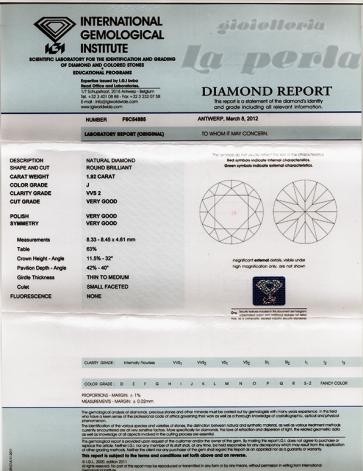 Brillante certificato IGI. ct 1,92; J-VVS2