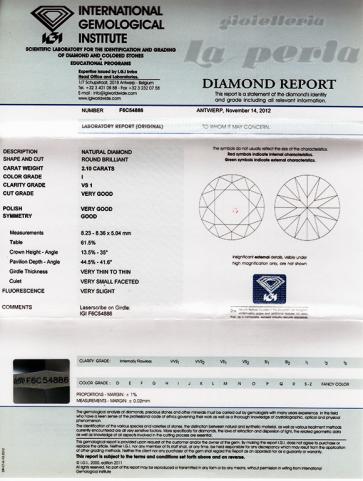Brillante certificato IGI. ct 2,10; I-VS1