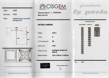 Brillante certificato CISGEM. ct 0,25; H-VVS1