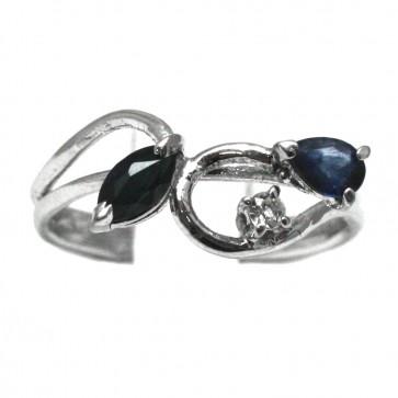 Anello argento e radici di zaffiro