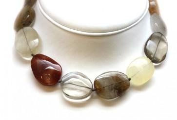 Collana di quarzo sagenitico e argento