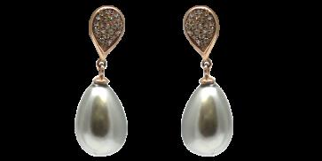 Orecchini argento perla e zirconi