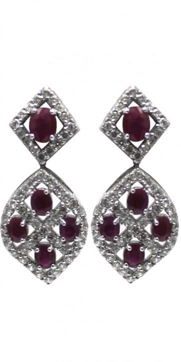 Orecchini argento zirconi e rubini