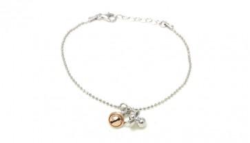 Bracciale argento, charms ciuccio e campanella