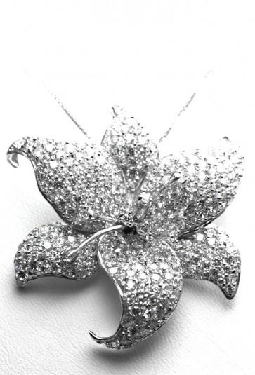 Ciondolo maxi fiore in argento e zirconi