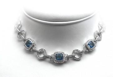 Collier argento, zirconi e topazi