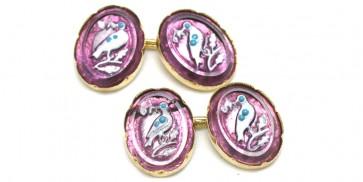 Gemelli artistici in oro, e cristalli di Murano