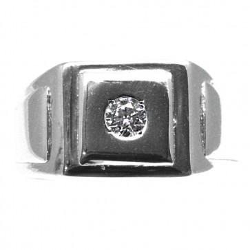 Anello uomo geometrico argento e zircone