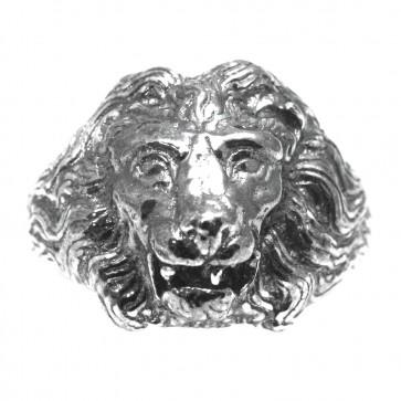 Anello uomo testa di leone argento brunito