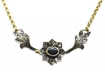 Collana in stile oro, zaffiri e diamanti