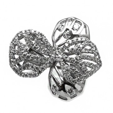 Anello farfalla argento e zirconi bianchi