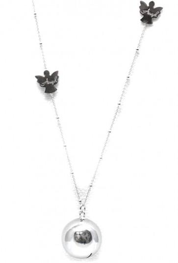 """Ciondolo """"chiama angeli""""  argento liscio, con catenina microboulle e angioletti"""