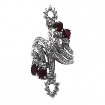 Anello argento rubini