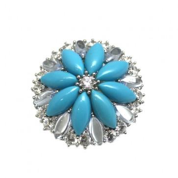 Anello maxi fiore argento