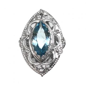 Anello spola argento e quarzo azzurro di sintesi