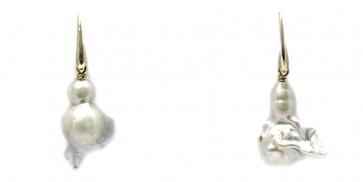 Orecchini pendenti oro e perle scaramazze