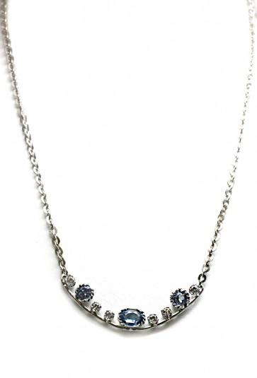 Collana argento, pietre di sintesi azzurre e bianche