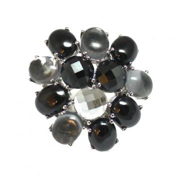 Anello argento e pietre di sintesi grigio-nere