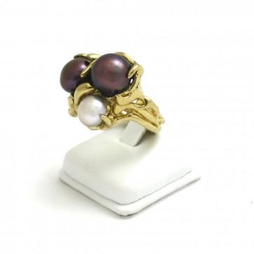 Anello argento con perle coltivate