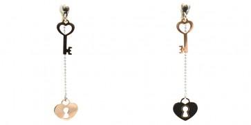Orecchini doppia catenella cuore e chiave in argento bicolore