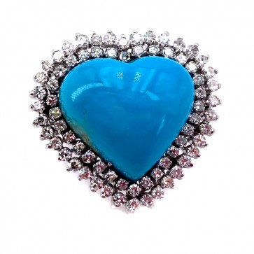 Anello maxi cuore turchese e diamanti