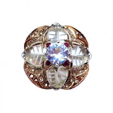 Anello maxi toppa in stile oro, argento e pietre di sintesi