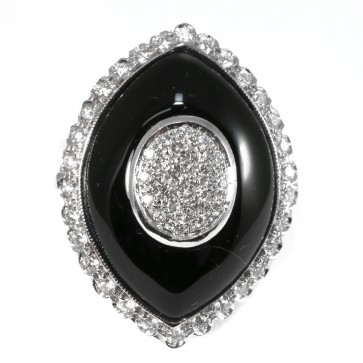 Anello maxi spola oro, onice e diamanti