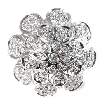 Anello maxi fiore oro con diamanti