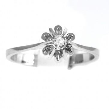 Anello solitario, montatura fiore, oro e diamante