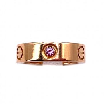 Anello fede CARTIER, modello LOVE, oro e zaffiro rosa