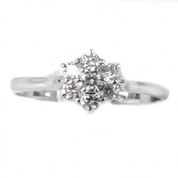 Anello fiore circolare con diamanti - 0,41 ct; 1,8 gr