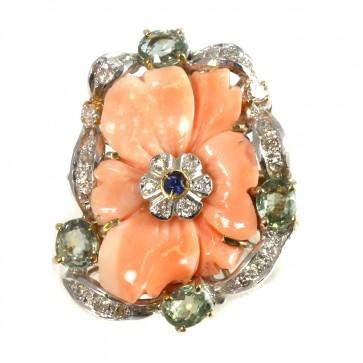 Anello maxi fiore corallo, oro, argento, zaffiri