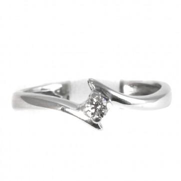 Anello solitario oro e diamante - 0,08-0,10 ct; 2.33 gr