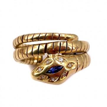 Anello serpente oro, zaffiro -0.08-0.10 ct- e diamanti