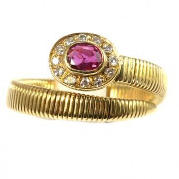Anello serpente,  in stile oro, rubino