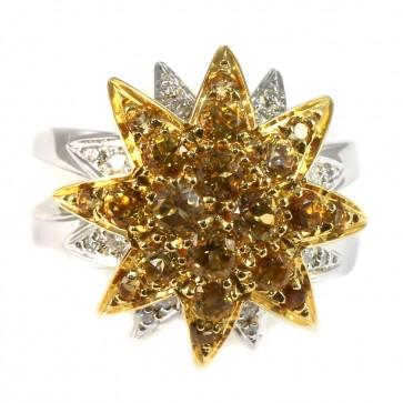 Anello maxi fiore stellato doppio oro, topazi citrini e diamanti