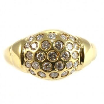 Anello fascia in oro con palloncino di diamanti
