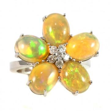 Anello maxi fiore, oro, opale