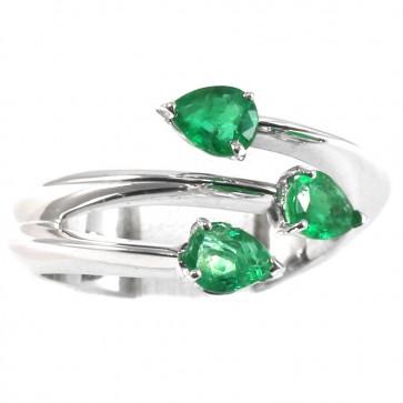Anello trilogy, oro e gocce di smeraldo