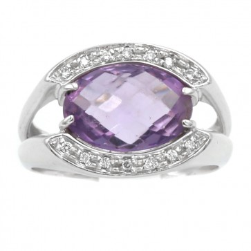 Anello ametista, oro e diamanti