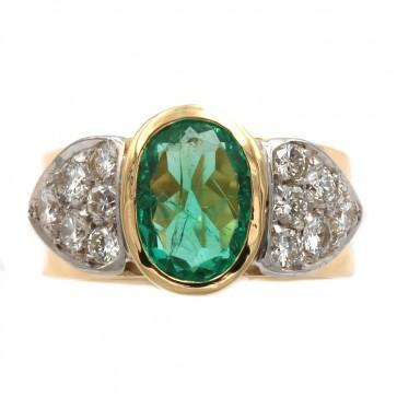 Anello fascia oro, smeraldo