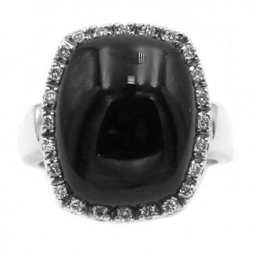 Anello rettangolo oro, onice e diamanti