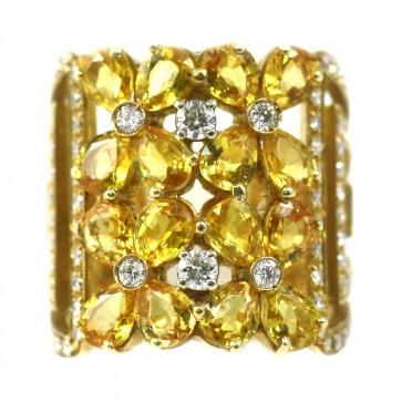 Anello maxi rettangolo oro, fiori zaffiri gialli - 6,30 ct - e diamanti -