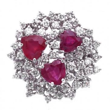 Anello fuoco d'artificio oro, cuori di rubino - 3.51 ct - e diamanti