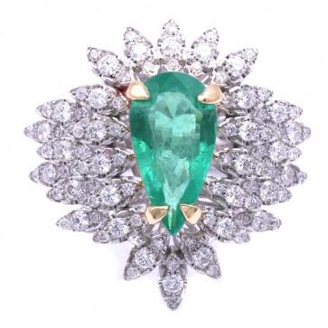 Anello capolavoro oro, maxi goccia smeraldo