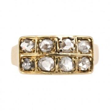 Anello in stile, riviera doppia, oro e diamanti
