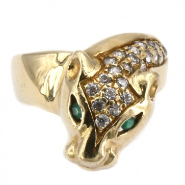 Anello pantera, oro giallo, zirconi e occhi smeraldo