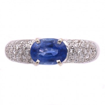 Anello fascia oro, zaffiro - 2.6 ct - e diamanti