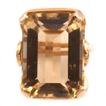 Anello vintage in stile, antico, oro e quarzo citrino rettangolare