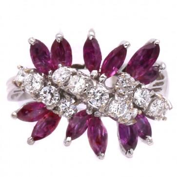Anello oro con spole rubino - 1.20-1.30 ct - e diamanti